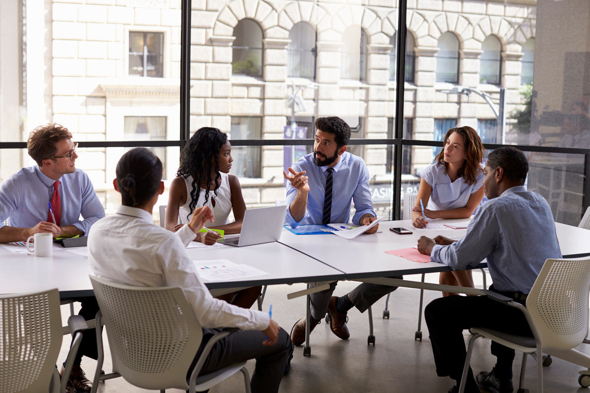 group of businesspeople at a conference table