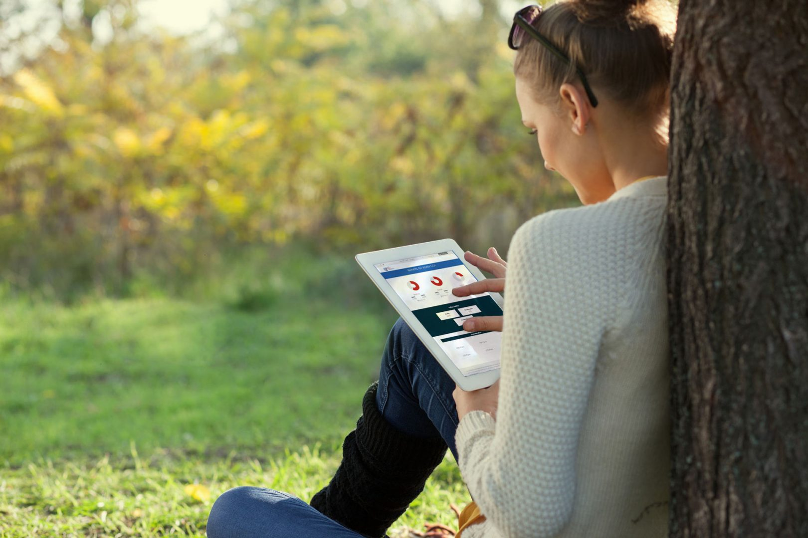 woman sitting on the grass under a tree with using an ipad to look at donut charts
