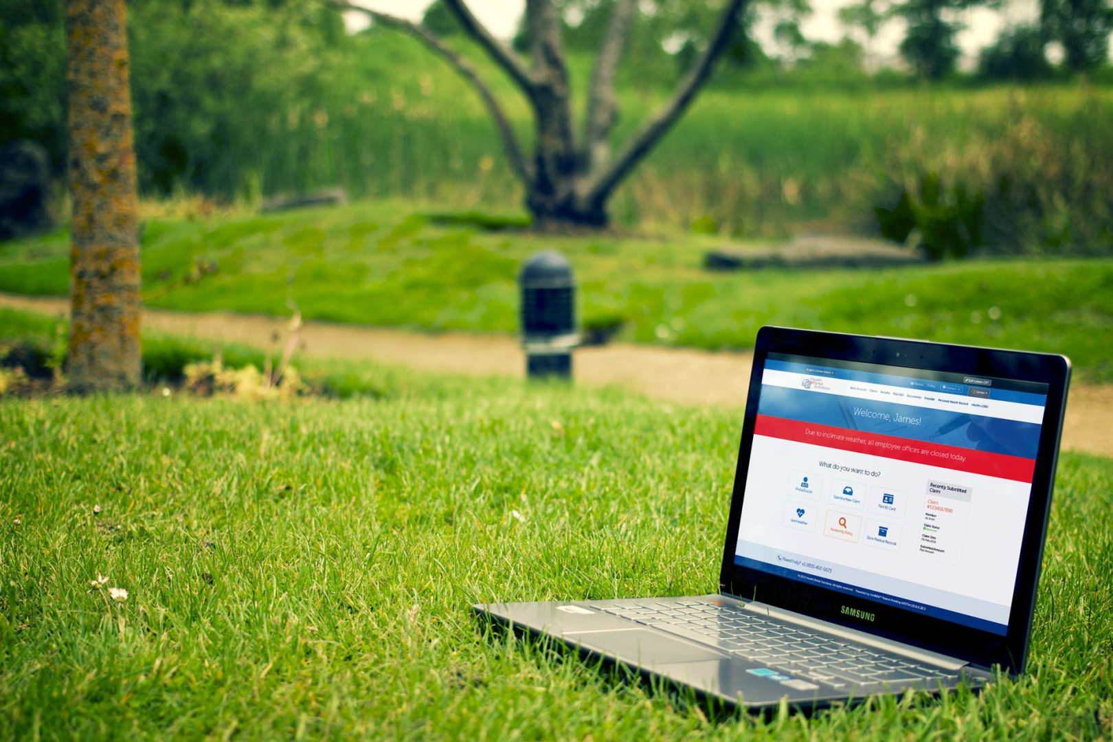 member simple home page with alert content on a laptop on the grass