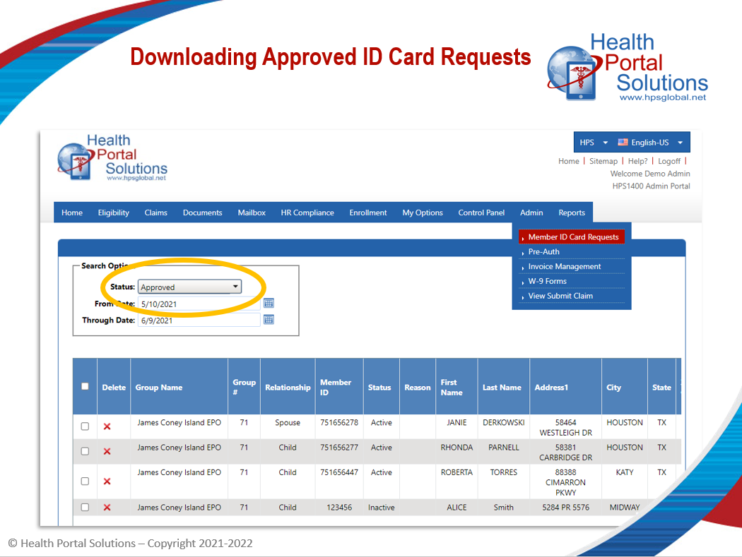 downloading approved ID card requests screen