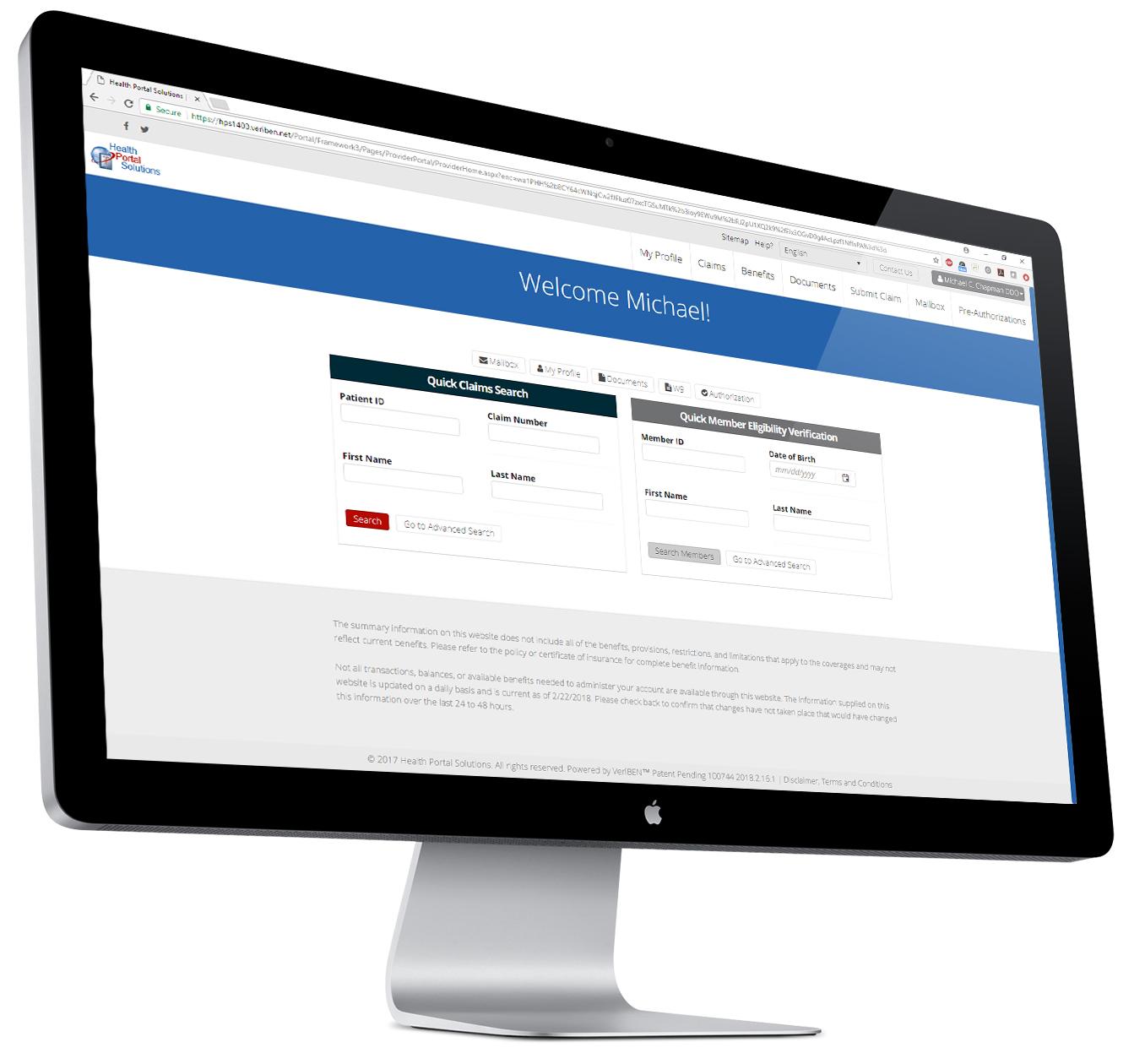 desktop view of healthcare provider portal
