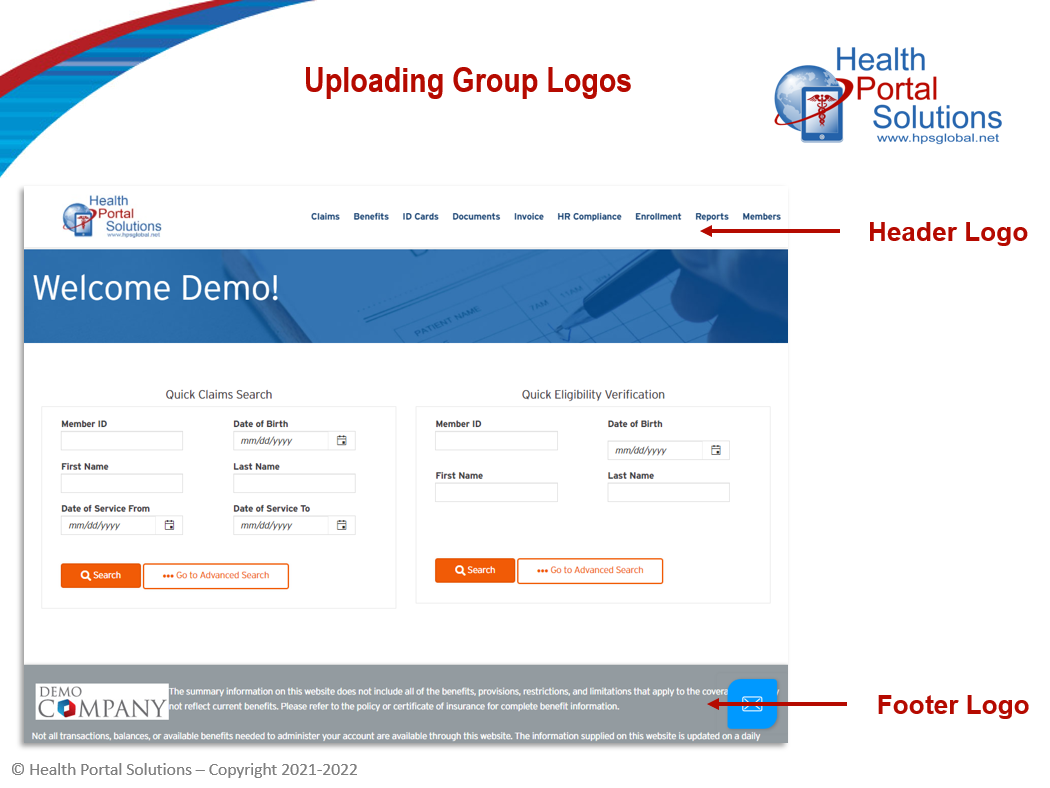Uploading Group Logos screen
