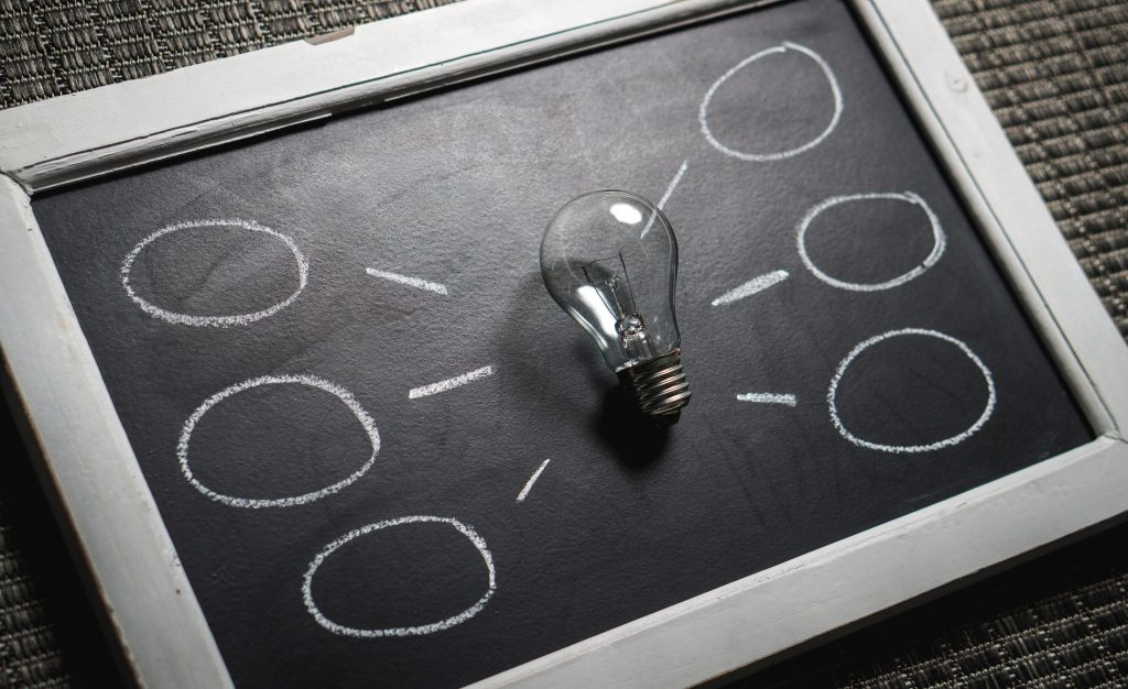lightbulb with chalkboard