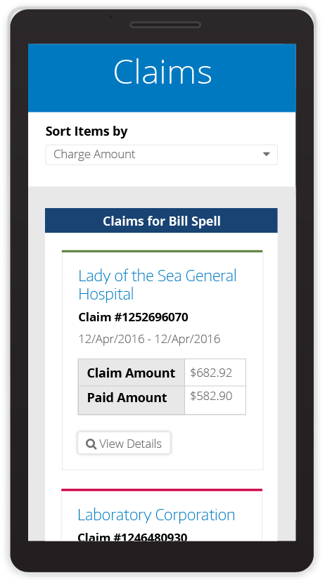 view of member claims on a mobile interface