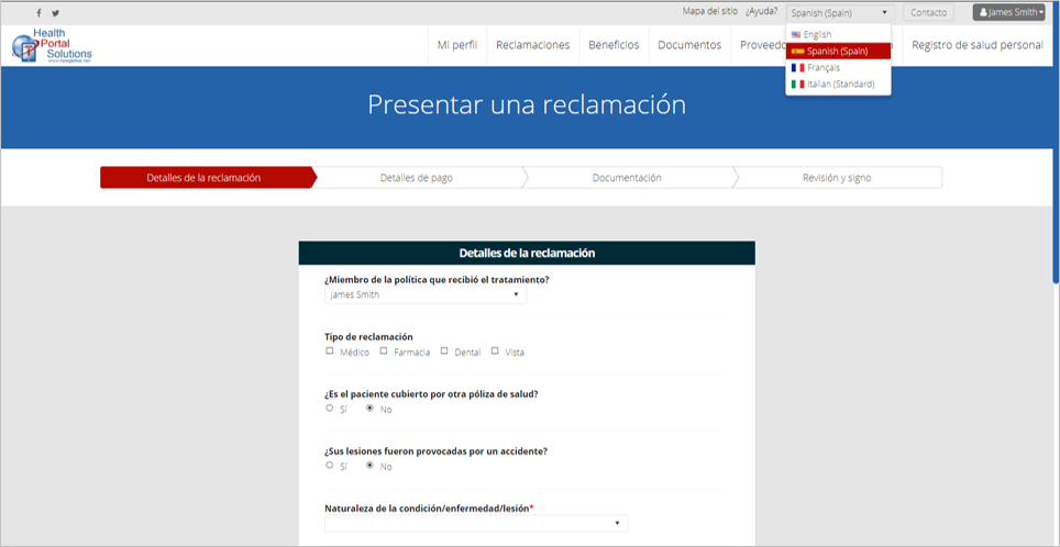sample screen with Spanish labels